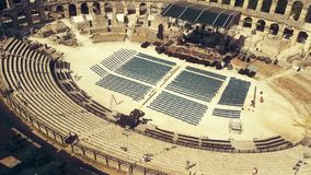 Aerial shot of the famous ancient Roman amphitheatre in Pula, Croatia Stock Photos