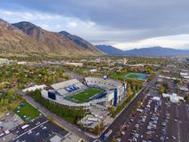 Aerial shot of football stadium. Aerial shot of Lavell Edwards Stadium in Provo, Utah, prior to football game in fall Stock Photography