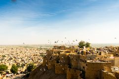 Aerial shot of a fort perched on a mountain top Royalty Free Stock Photos