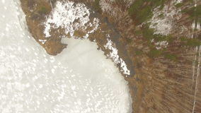 Aerial shot of frozen lake stock video footage