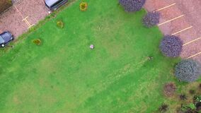 Aerial shot of a garden zoom out