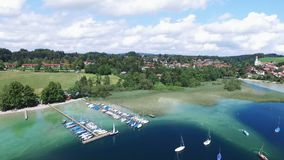 Aerial drone footage - flying over a lake in Germany stock video