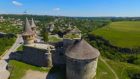 Aerial shot of a gorgeous castle stock video footage