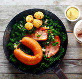 Aerial Shot of Gourmet German Recipe on a Pan Stock Images