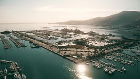 Aerial shot of the harbour of La Spezia, Italy royalty free stock photos