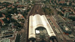 Aerial view of Hauptbahnhof or Dresden city central railway station, Germany. Aerial shot of Hauptbahnhof or Dresden city central railway station Royalty Free Stock Photography