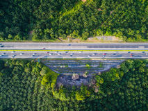 Aerial shot highway, road with forest, farm Stock Photography