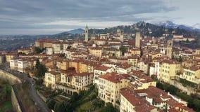 Aerial shot of historic part of Bergamo. Italy. Aerial shot of historic part of Bergamo stock footage