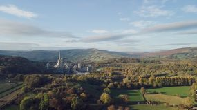 Aerial shot of the Hope Valley Cement works, Peak District, UK - Sunny day stock images