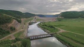 Aerial shot of a Hydropower Plant stock video