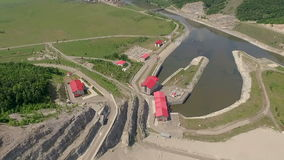Aerial shot of a Hydropower Plant stock video footage