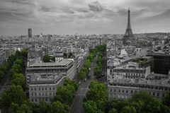 Aerial Shot If Eiffel Tower Paris Skyline Royalty Free Stock Images
