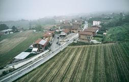 Castagneto village aerial shot royalty free stock photos