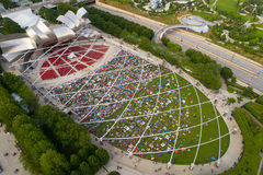Aerial image of the Jay Pritzker Pavilion Millennium Park. Aerial shot of the Jay Pritzker Pavilion Millennium Park Stock Images