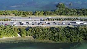 Aerial shot Julia Tuttle Causeway Miami Beach FL Royalty Free Stock Photography