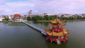Aerial shot of Kaohsiung's famous tourist attractions. Lotus Pond, many Chinese tourists to visit the area, of which the best known dragon towers, Taiwan stock footage