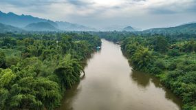 Aerial shot of Kwai river in Thailand stock photos