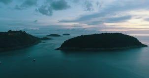 Aerial shot at Laem Phrom Thep watch sunset in Phuket. Thailand stock footage