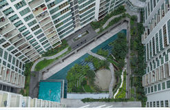 Aerial shot of landscape area outside apartment blocks Stock Photography