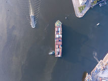 Aerial shot of large bangkok shipping port taken in afternoon Royalty Free Stock Images