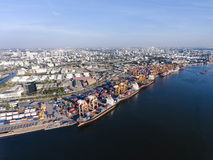 Aerial shot of large bangkok shipping port taken in afternoon Royalty Free Stock Image