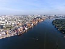 Aerial shot of large bangkok shipping port taken in afternoon Royalty Free Stock Image