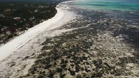 Aerial shot: large outflows on the island of Zanzibar. Large outflows on the island of Zanzibar. seaweed on the beach stock video footage