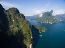 Aerial shot lime stone island blue sky Stock Photo