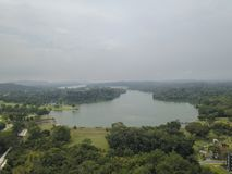 Aerial shot of Lower Pierce Reservoir in Singapore stock photos