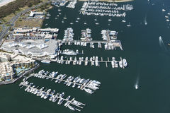 Aerial shot of luxurious docks Royalty Free Stock Photos