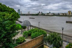 Aerial shot of McDougal Gardens, River Thames and footpath. Stock Photography