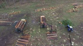Aerial shot. The mechanical arm of a specialized Bark Removing Machine strips the bark from a freshly chopped tree trunk stock footage