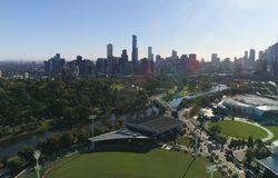 Aerial shot of Melbourne city panorama on a sunny day. Aerial shot of Melbourne city of Australia panorama on a sunny day Royalty Free Stock Photography