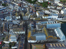 An aerial shot of Mevergissey Fishing Village. An aerial Shot looking down on Mevegissey Fishing village taken by an DJI Inspire Drone, all teh small winding stock photos