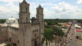Aerial shot of Mexican chirch. Catholic church in typical Mexican city. stock video footage