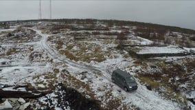 Aerial shot of minivan in Rabocheostrovsk, Karelia stock video