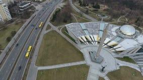 Drone shot in Minsk Hero City Obelisk. An aerial shot of the Minsk Hero City Obelisk in Belarus stock video