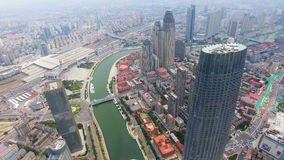 Aerial shot of modern buildings and urban cityscape, Tianjin, China. Aerial shot of modern buildings and urban cityscape, Tianjin, China stock footage