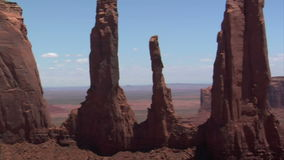 Aerial shot of monument valley spires stock video footage