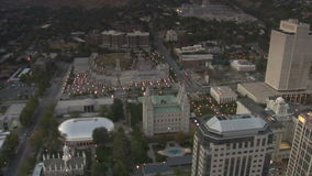 Aerial shot of Mormon Temple in Salt Lake City Utah. Video of aerial shot of mormon temple in salt lake city utah stock video footage