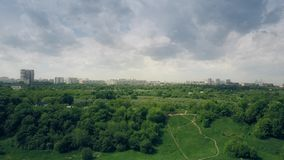 Aerial shot of Moscow cityscape as seen from Kolomenskoe park. Aerial shot of Moscow as seen from Kolomenskoe park royalty free stock images