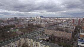 Aerial shot of Moscow on cloudy day, Russia stock video