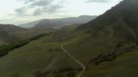 Aerial shot of mountain valley stock footage