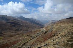 Aerial shot of mountainous Karakoram Highway Babusar Pass Pakistan Stock Image