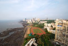 Aerial shot of Mumbai's afluent Napean Sea area with Arabian sea during day. Stock Photo