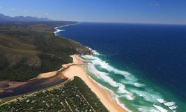 Aerial shot of Natures Valley in the Garden Route. South Africa Royalty Free Stock Image