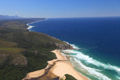 Aerial shot of Natures Valley in the Garden Route. South Africa Royalty Free Stock Photos