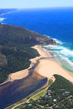 Aerial shot of Natures Valley in the Garden Route Stock Photo