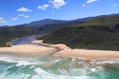 Aerial shot of Natures Valley in the Garden Route. South Africa Royalty Free Stock Photography