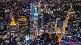 Aerial shot of new york city, Manhattan business district. Metropolis urban background. Aerial shot of new york city skyline at night. iconic metropolis urban stock video footage